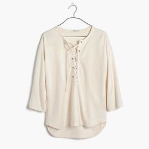 Madewell ivory libra lace up tee xs